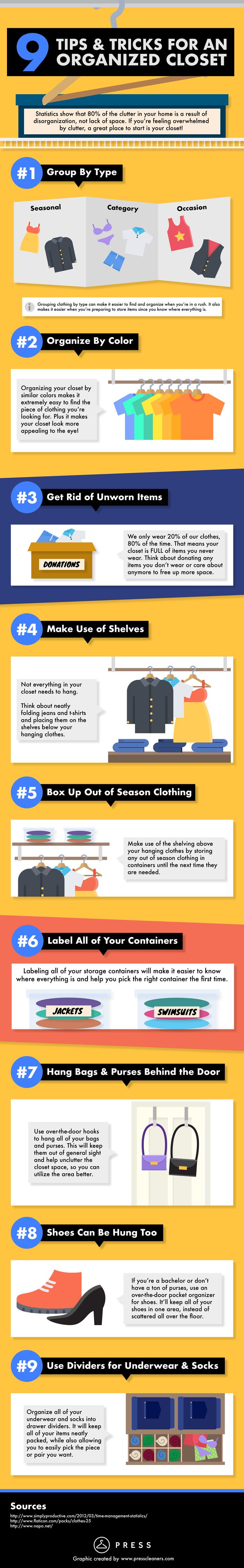 Closet Organization Tips and Tricks Infographic