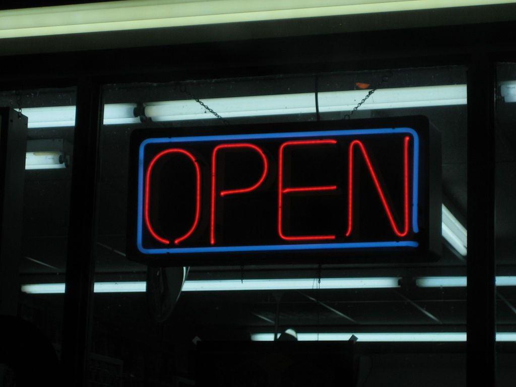 dry cleaner open sign